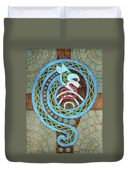 Dragon And The Circles Duvet Cover