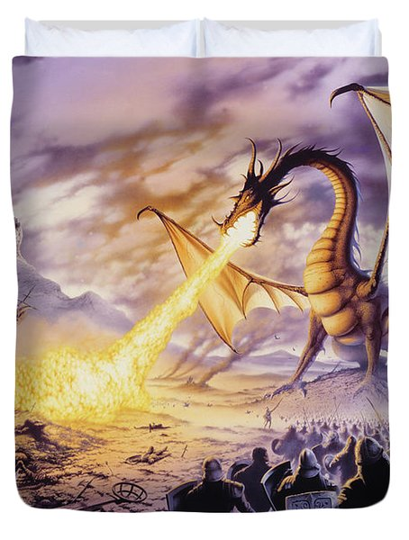 Dragon Battle Duvet Cover by The Dragon Chronicles - Steve Re