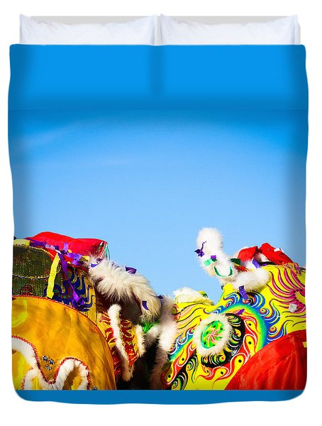 Duvet Cover featuring the photograph Dragon Dance by Bobby Villapando