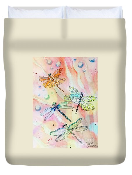 Duvet Cover featuring the painting Dragon Diversity by Denise Tomasura