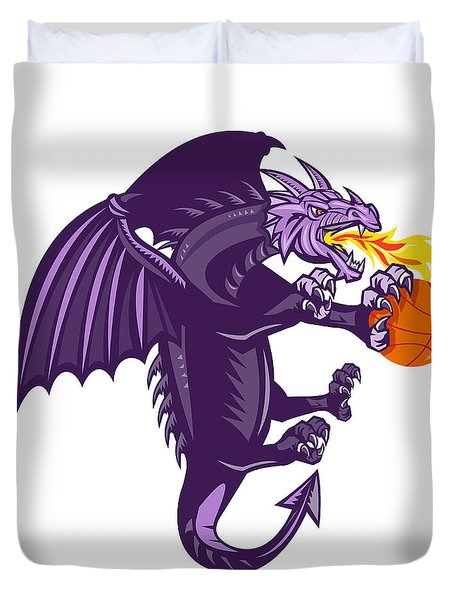 Dragon Fire Holding Basketball Isolated Retro Duvet Cover