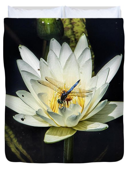 Dragon Fly On Lily Duvet Cover