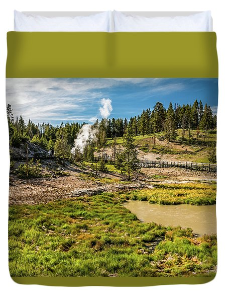 Dragon Geyser At Yellowstone Duvet Cover