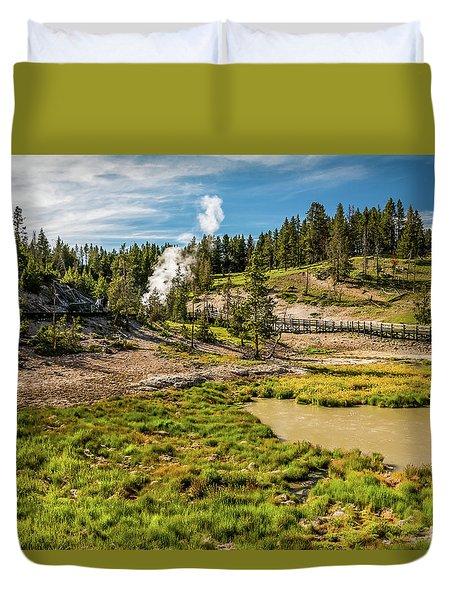 Dragon Geyser At Yellowstone Duvet Cover by Hyuntae Kim