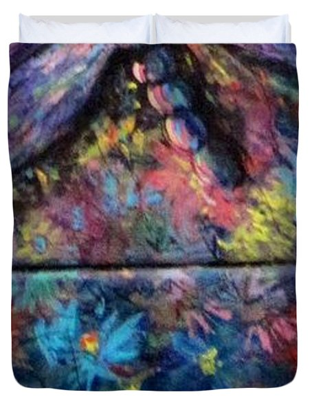 Duvet Cover featuring the painting Dragon Line by Megan Walsh
