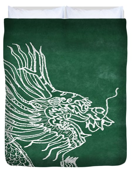 Dragon On Chalkboard Duvet Cover by Setsiri Silapasuwanchai