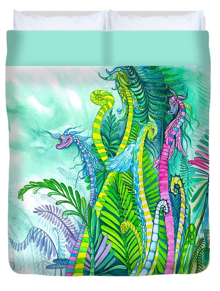 Dragon Sprouts Duvet Cover by Adria Trail