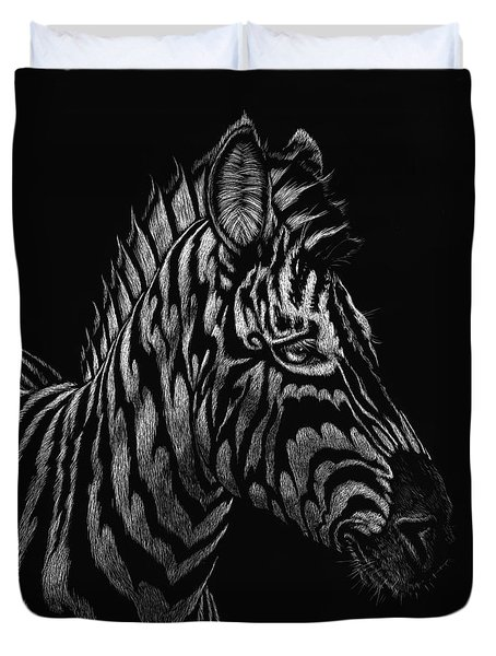 Duvet Cover featuring the painting Dragon Zebra by Stanley Morrison