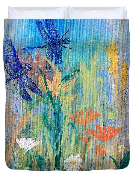 Dragonflies In Wild Garden Duvet Cover