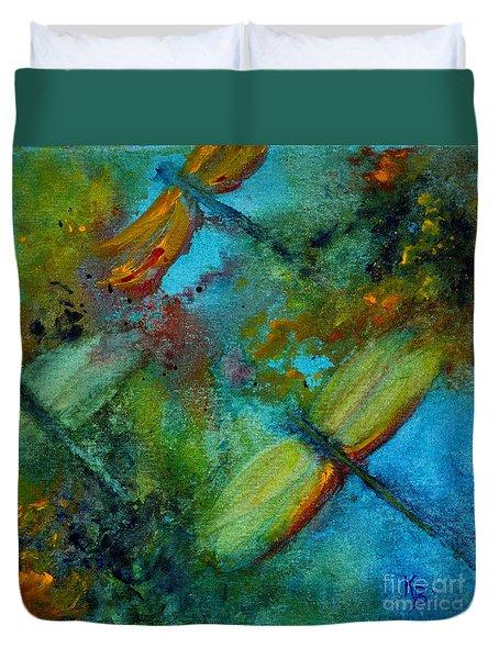 Dragonflies Duvet Cover by Karen Fleschler
