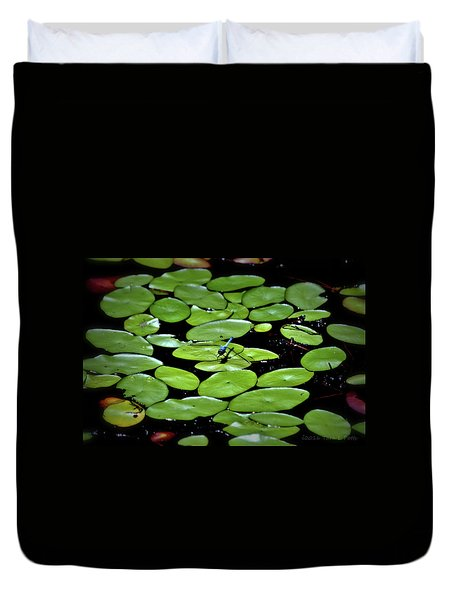 Dragonfly Among The Lily Pads Duvet Cover