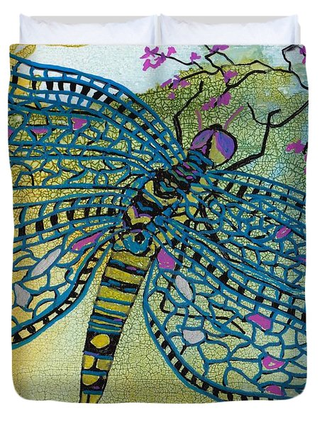 Dragonfly And Cherry Blossoms Duvet Cover by Susan Kubes
