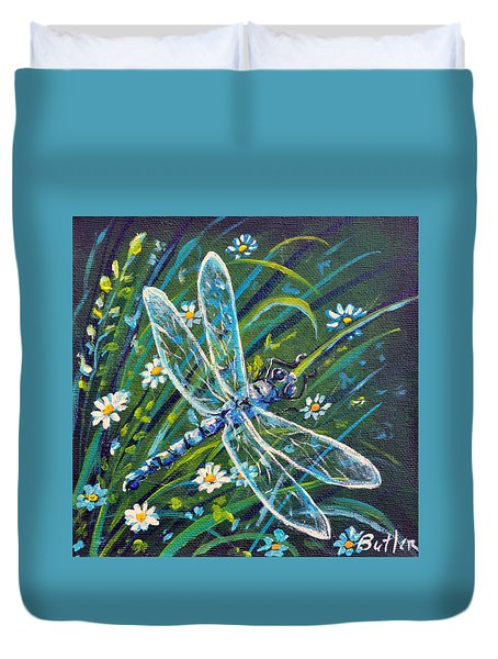 Dragonfly And Daisies Duvet Cover by Gail Butler