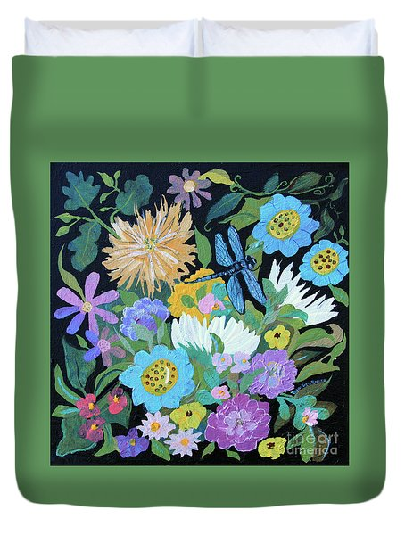 Duvet Cover featuring the painting Dragonfly And Flowers by Robin Maria Pedrero