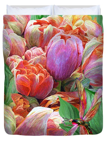 Duvet Cover featuring the mixed media Dragonfly And Tulips 2 by Carol Cavalaris