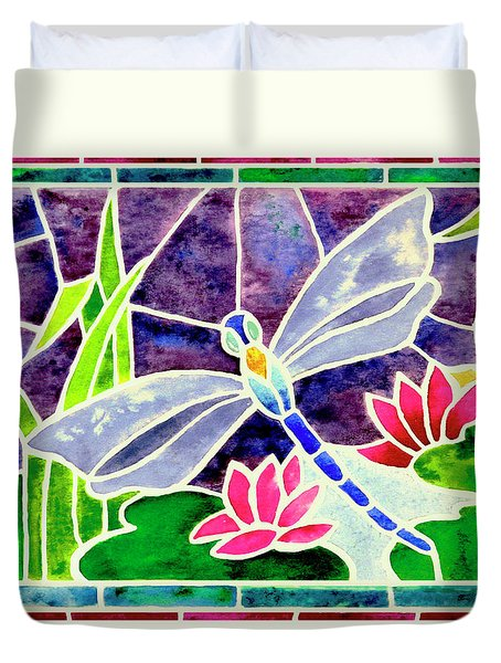 Dragonfly And Water Lily In Stained Glass Duvet Cover by Janis Grau