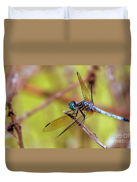 Duvet Cover featuring the photograph Dragonfly At Rest by Terri Mills