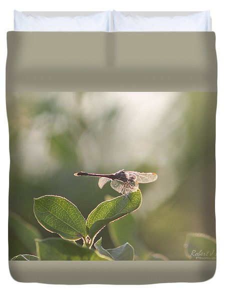 Duvet Cover featuring the photograph Dragonfly Basking In The Twilight by Robert Banach