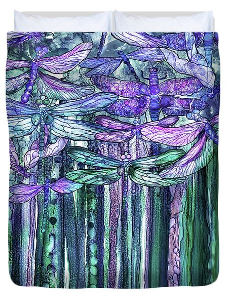 Duvet Cover featuring the mixed media Dragonfly Bloomies 1 - Lavender Teal by Carol Cavalaris