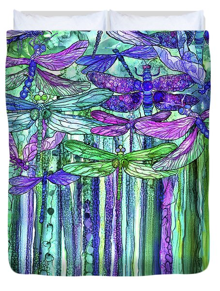 Duvet Cover featuring the mixed media Dragonfly Bloomies 1 - Purple by Carol Cavalaris