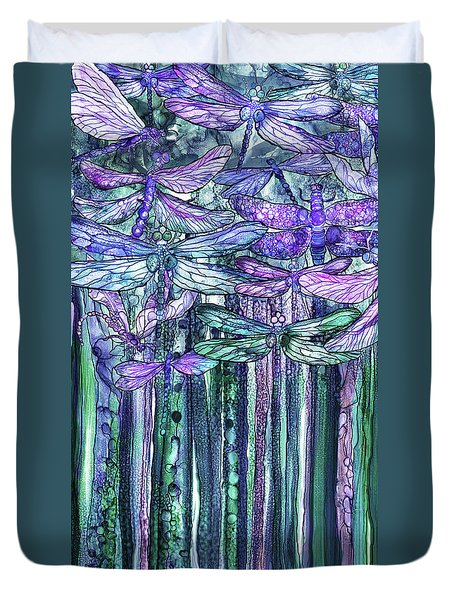 Duvet Cover featuring the mixed media Dragonfly Bloomies 2 - Lavender Teal by Carol Cavalaris