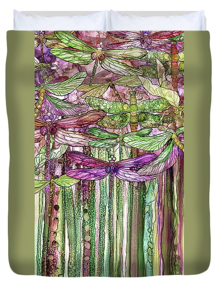 Duvet Cover featuring the mixed media Dragonfly Bloomies 2 - Pink by Carol Cavalaris