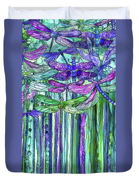 Duvet Cover featuring the mixed media Dragonfly Bloomies 2 - Purple by Carol Cavalaris