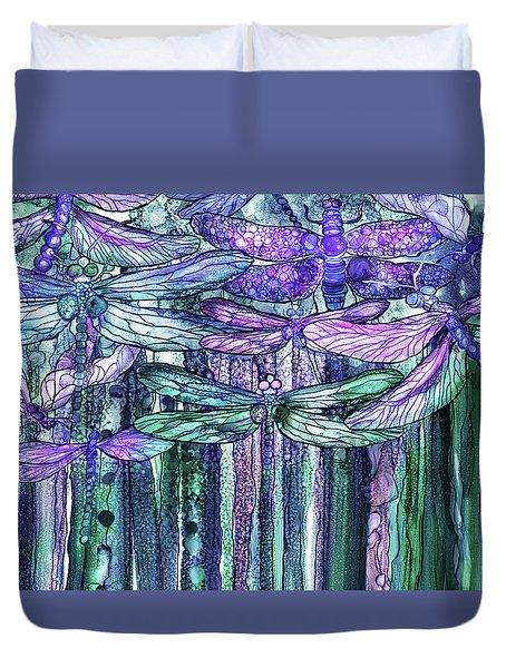 Duvet Cover featuring the mixed media Dragonfly Bloomies 3 - Lavender Teal by Carol Cavalaris
