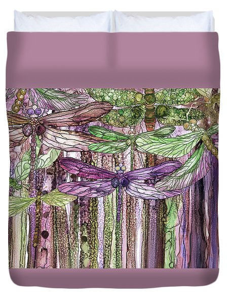 Duvet Cover featuring the mixed media Dragonfly Bloomies 3 - Pink by Carol Cavalaris