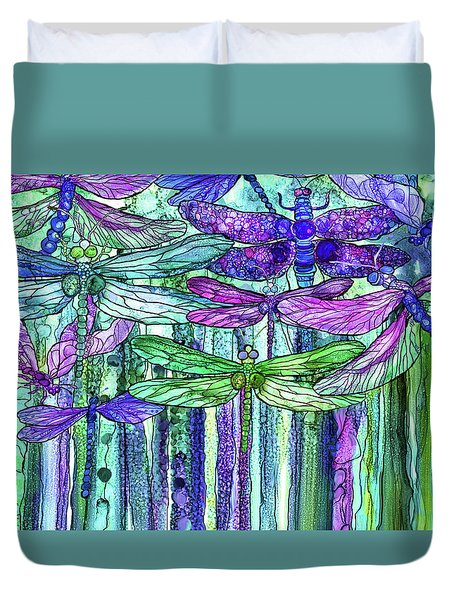 Duvet Cover featuring the mixed media Dragonfly Bloomies 3 - Purple by Carol Cavalaris
