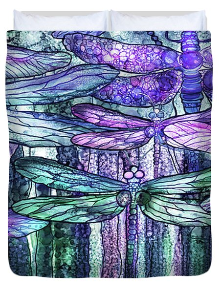 Dragonfly Bloomies 4 - Lavender Teal Duvet Cover