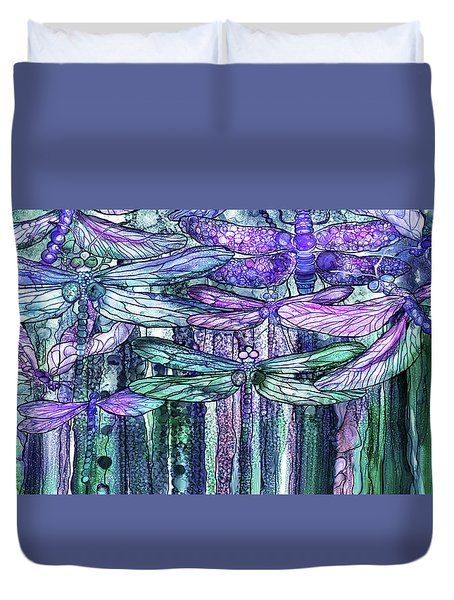Duvet Cover featuring the mixed media Dragonfly Bloomies 4 - Lavender Teal by Carol Cavalaris