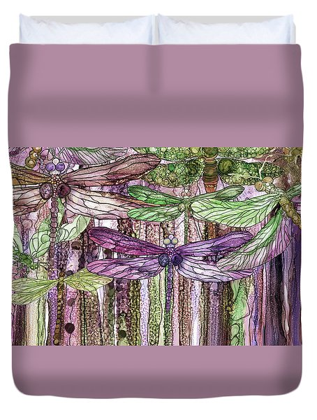 Duvet Cover featuring the mixed media Dragonfly Bloomies 4 - Pink by Carol Cavalaris