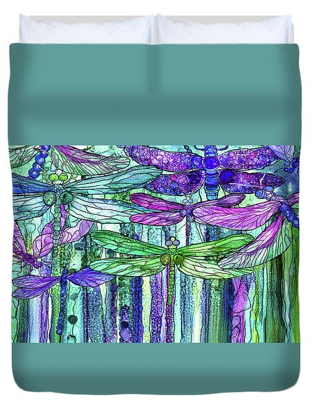 Duvet Cover featuring the mixed media Dragonfly Bloomies 4 - Purple by Carol Cavalaris