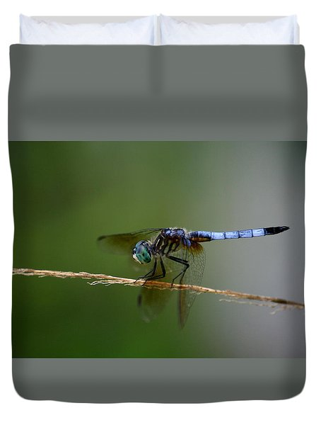 Duvet Cover featuring the photograph Dragonfly by Cathy Harper