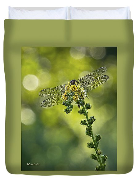 Dragonfly Flower Duvet Cover