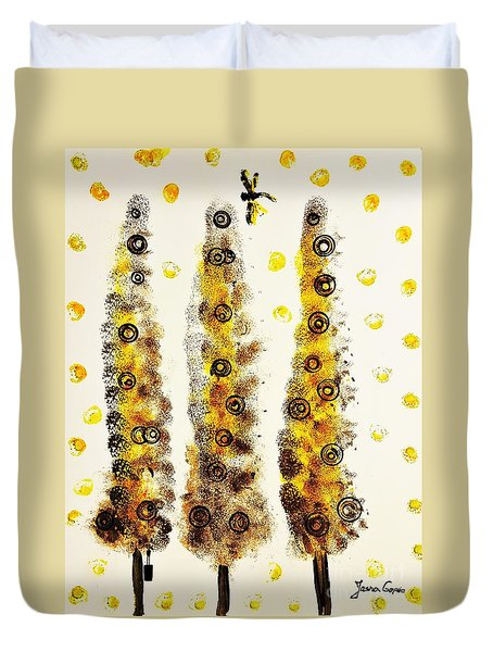 Dragonfly Flying Through The Yellow  Forest By Jasna Gopic Duvet Cover