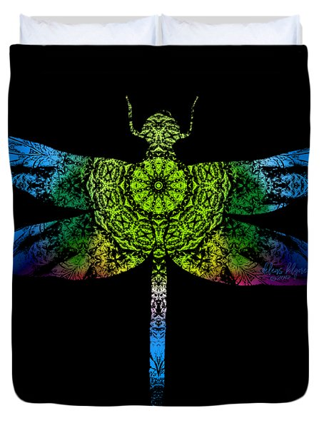 Duvet Cover featuring the digital art Dragonfly Kaleidoscope by Deleas Kilgore