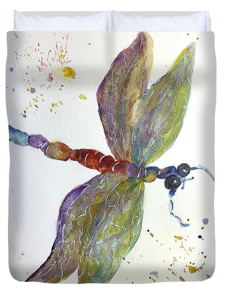 Duvet Cover featuring the painting Dragonfly by Lucia Grilletto