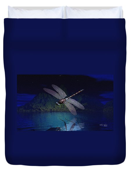 Dragonfly Night Reflections Duvet Cover