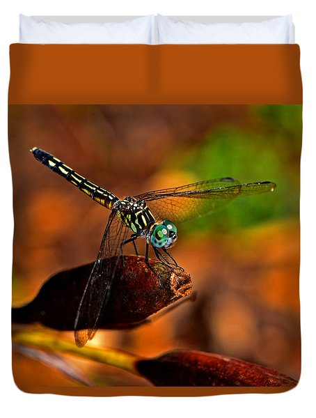 Duvet Cover featuring the photograph Dragonfly On A Flower Pod 002 by George Bostian