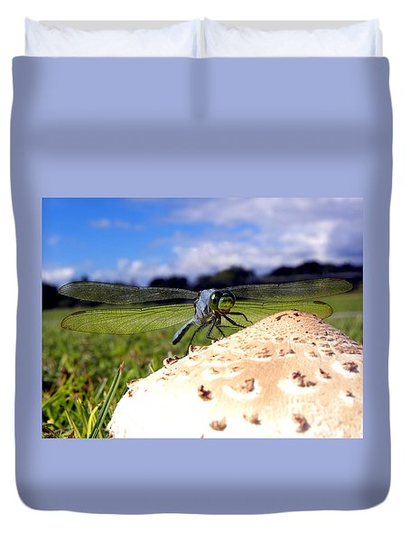Dragonfly On A Mushroom Duvet Cover
