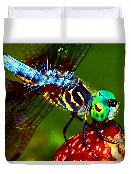 Duvet Cover featuring the photograph Dragonfly On A Pitcher Plant 007 by George Bostian