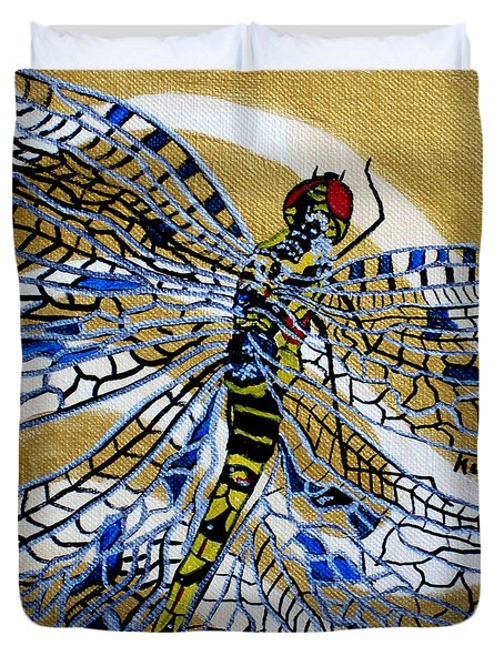 Dragonfly On Gold Scarf Duvet Cover by Susan Kubes