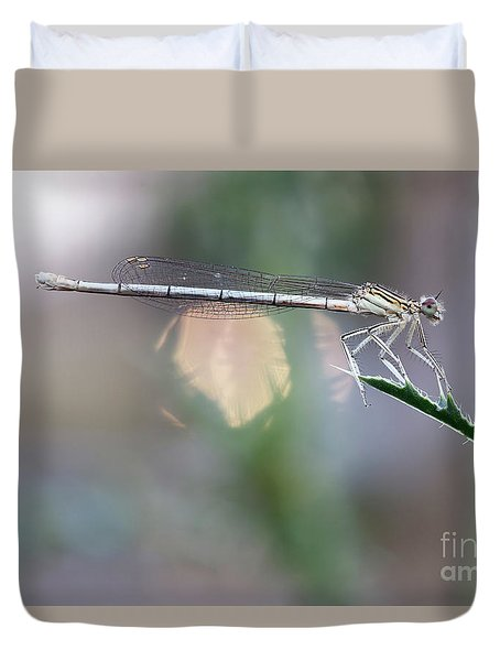 Duvet Cover featuring the photograph Dragonfly On Leaf by Michal Boubin