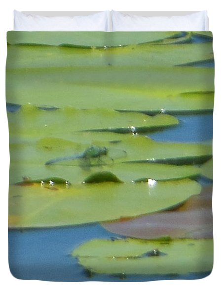 Dragonfly On Lily Pad Duvet Cover