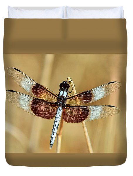 Duvet Cover featuring the photograph Dragonfly On Reed by Sheila Brown