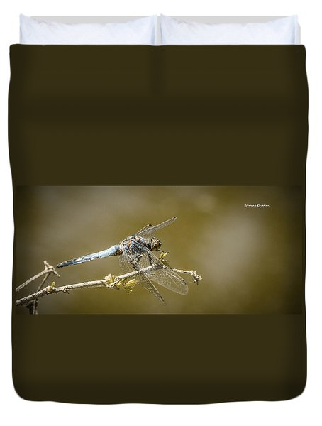 Duvet Cover featuring the photograph Dragonfly On The Spot by Stwayne Keubrick