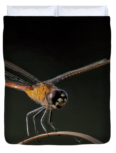 Duvet Cover featuring the photograph Dragonfly On Weed by Don Durfee