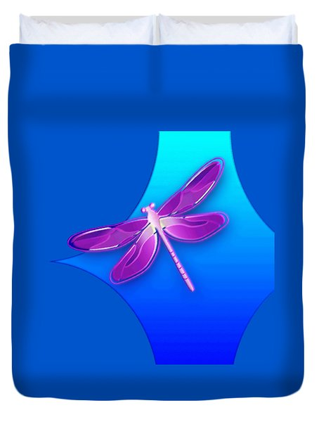 Dragonfly Pink On Blue Duvet Cover